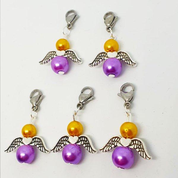 Glücksbringer Engel in Gelbgold / Lavendel